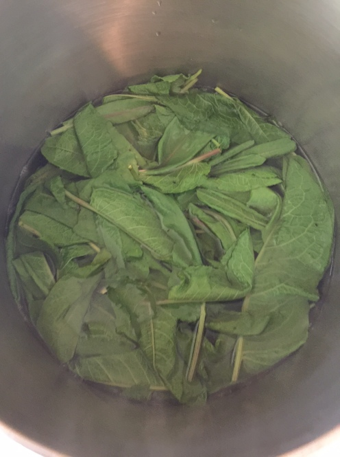 In the pot for blanching