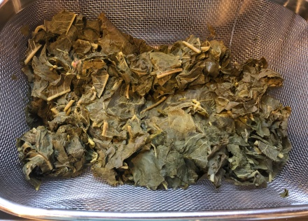 Strained leaves after boiling